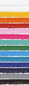 SET: 15 kleuren elastisch kant 12 mm (ca. 375 m)