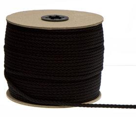 Katoenen koord zwart 5 mm (ca. 100 m)