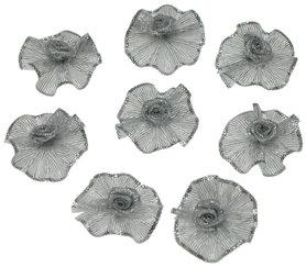 Roosje satijn zilver op zilver blad 25 mm (10 stuks)