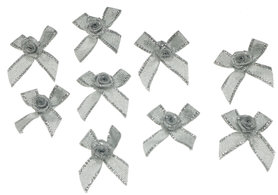 Strikje zilver met zilveren roosje (10 stuks)