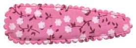 Haarkniphoesje roze met witte bloemetjes 5 cm (ca. 100 stuks)