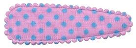 Haarkniphoesje roze met licht blauwe stip / polkadot 5 cm (ca. 100 stuks)