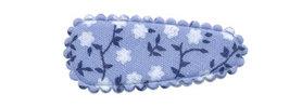 Haarkniphoesje blauw met witte bloemetjes 3 cm (ca. 100 stuks)