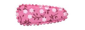 Haarkniphoesje roze met witte bloemetjes 3 cm (ca. 100 stuks)