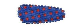 Haarkniphoesje kobalt blauw met rode stip / polkadot 3 cm (ca. 100 stuks)