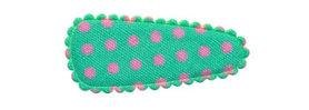 Haarkniphoesje mintgroen met roze stip / polkadot 3 cm (ca. 100 stuks)