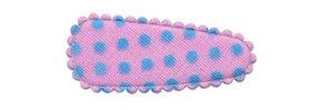 Haarkniphoesje roze met licht blauwe stip / polkadot 3 cm (ca. 100 stuks)