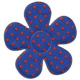 Applicatie bloem kobalt blauw met rode stippen katoen groot 45 mm (ca. 100 stuks)