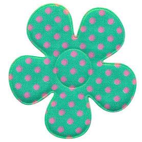 Applicatie bloem mintgroen met roze stippen katoen groot 45 mm (ca. 100 stuks)