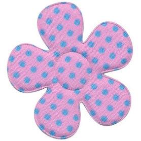 Applicatie bloem roze met lichtblauwe stippen katoen groot 45 mm (ca. 100 stuks)
