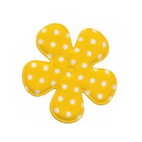 Applicatie bloem geel met witte stip katoen middel 35 mm (ca. 100 stuks)