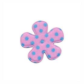 Applicatie bloem roze met lichtblauwe stippen katoen klein 25 mm (ca. 100 stuks)