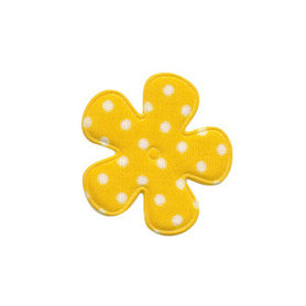 Applicatie bloem geel met witte stippen katoen klein 25 mm (ca. 100 stuks)