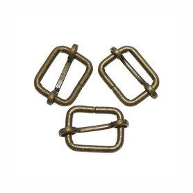 Metalen schuifgesp bronskleurig 20 mm (10 stuks)
