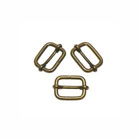 Metalen schuifgesp bronskleurig 13 mm (10 stuks)