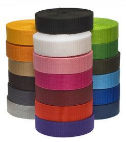 START-SET: Tassenband 25 mm 21 kleuren, elk 5 meter (ca. 105 m)