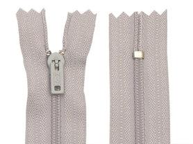 Niet-deelbare nylon rits 3 mm licht grijs (#336) 25 cm (12 stuks)