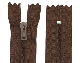 Niet-deelbare nylon rits 3 mm bruin (#570) 20 cm (12 stuks)