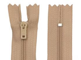 Niet-deelbare nylon rits 3 mm beige/zandkleurig (#573) 22,5 cm (12 stuks)