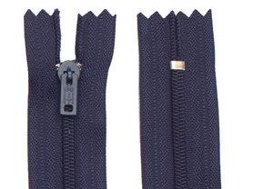 Niet-deelbare nylon rits 3 mm donker blauw (#919) 25 cm (12 stuks)