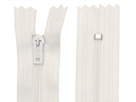 Niet-deelbare nylon rits 3 mm wit (#501) 22,5 cm (12 stuks)
