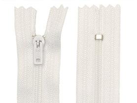 Niet-deelbare nylon rits 3 mm wit (#501) 12,5 cm (12 stuks)
