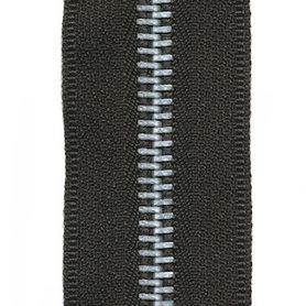 Metalen rits zwart #580 met aluminium tanden maat 5 (ca. 5 m)