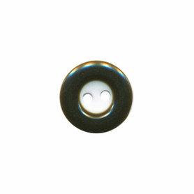 Knoop wit met bruine rand 13 mm (ca. 100 stuks)