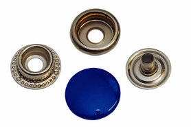 Drukker kobalt blauw 15 mm, type 4-7 (ca. 25 stuks)