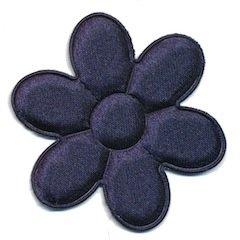 Applicatie bloem donker blauw satijn effen groot 45 mm (ca. 100 stuks)