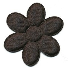 Applicatie bloem zwart satijn effen groot 45 mm (ca. 100 stuks)