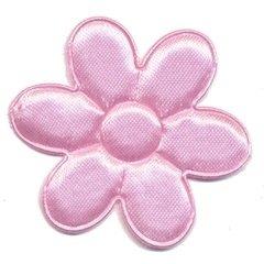Applicatie bloem roze satijn effen groot 45 mm (ca. 100 stuks)