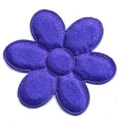 Applicatie bloem kobalt blauw satijn effen groot 45 mm (ca. 100 stuks)