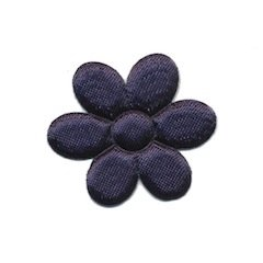Applicatie bloem donker blauw satijn effen middel 30 mm (ca. 100 stuks)