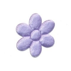 Applicatie bloem lila satijn effen middel 30 mm (ca. 100 stuks)