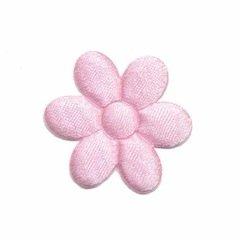 Applicatie bloem roze satijn effen middel 30 mm (ca. 100 stuks)