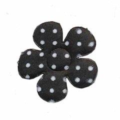 Applicatie bloem zwart met witte stippen satijn middel 35 mm (ca. 100 stuks)