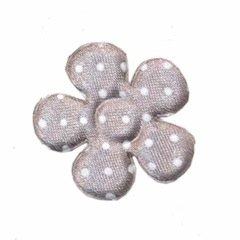 Applicatie bloem grijs met witte stippen satijn middel 35 mm (ca. 100 stuks)