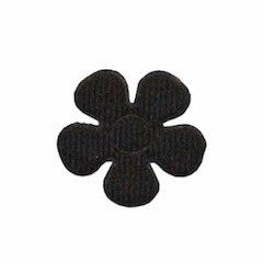 Applicatie bloem zwart vilt middel 30 mm (ca. 100 stuks)