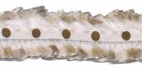 Wit-brons roezel elastiek met stip 25 mm (ca. 10 meter)