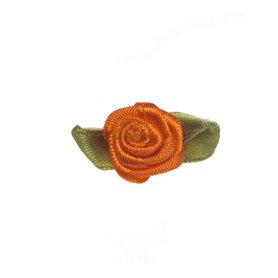Roosje satijn oranje op blad 15 x 25 mm (ca. 25 stuks)