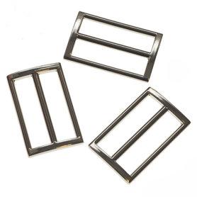 Metalen schuifgesp zilverkleurig RECHTHOEKIG 38 mm (10 stuks)
