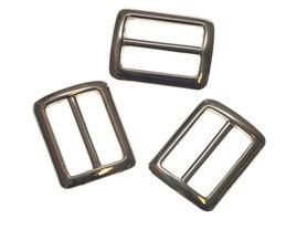 Metalen schuifgesp zilverkleurig RECHTHOEKIG met afgeronde hoeken 25 mm (10 stuks)