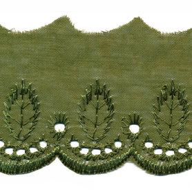 Broderie olijfgroen 50 mm (ca. 13,5 m)