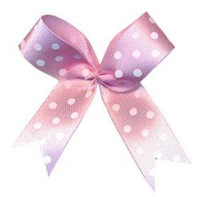 Satijnen strik licht roze met witte stip 40x45 mm (ca. 100 stuks)