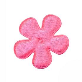 Applicatie bloem felroze satijn effen middel 35 mm (ca. 100 stuks)