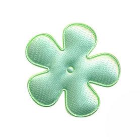 Applicatie bloem mintgroen satijn effen middel 35 mm (ca. 100 stuks)