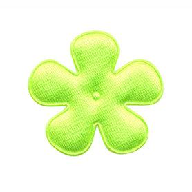 Applicatie bloem NEON geel/groen satijn effen middel 35 mm (ca. 100 stuks)