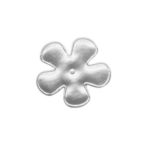 Applicatie bloem wit satijn effen klein 25 mm (ca. 100 stuks)