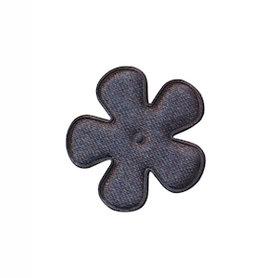 Applicatie bloem antraciet satijn effen klein 25 mm (ca. 100 stuks)